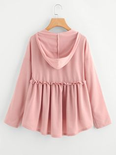 SheIn offers Frilled Dip Hem Smock Hoodie Tee & more to fit your fashionable needs. Muslim Fashion, Hijab Fashion, Fashion Dresses, Girls Fashion Clothes, Teen Fashion, Clothes For Women, Trendy Dresses, Cute Dresses, Cute Outfits