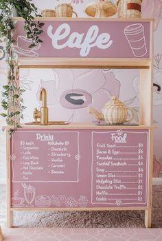 Fabric Wallpaper, Of Wallpaper, Ikea Play Kitchen, Play Kitchens, Kitchen Hacks, Ikea Hacks, Market Stands, Smoothie Bar, Box Shelves