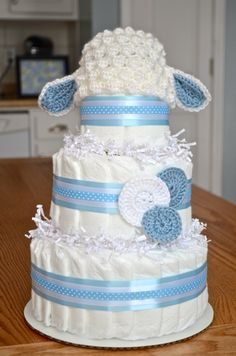 Boy Diaper Cake - Lamb Baby Shower Centerpieces or Decorations - Unique Baby Boy Gift - New Baby Gift - Crochet Lamb Hat Baby Shower Niño, Baby Shower Diapers, Baby Shower Cakes, Baby Shower Parties, Baby Shower Gifts, Diaper Cake Boy, Nappy Cakes, Baby Shower Centerpieces, Baby Shower Decorations