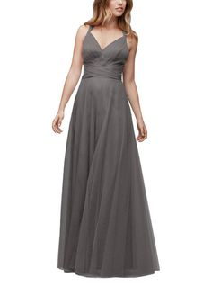 DescriptionWtoo by Watters Style142Full length bridesmaid dressV-necklineConvertible straps can be tied as halter or lacedthrough hidden loops to create a crisscross backBobbinet Tulle