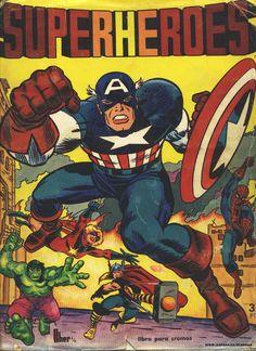 SUPERHEROES. Album de cromos con todos los personajes Marvel, publicado en 1980 por Ediciones Fher.