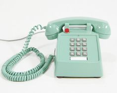 Vintage Phone Sea Green Upcycled Hotel push button telephone