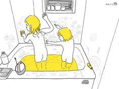 #こどもとうちで過ごそう 09 お風呂の壁に描ける特殊なクレヨンをもって、お魚、お花、パンなど描いて風呂遊び。 Bart Simpson, Comics, Fictional Characters, Cartoons, Fantasy Characters, Comic, Comics And Cartoons, Comic Books, Comic Book