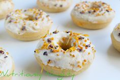 These lemon & baobab doughnuts are gluten free, refined sugar free, dairy free and low FODMAP. They are the perfect healthy citrusy treat! Sugar Free Baking, Dairy Free, Gluten Free, Low Fodmap, Healthy Baking, Doughnuts, Bagel, Baking Recipes, Lemon