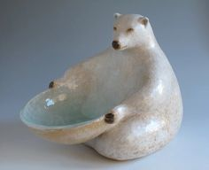 Bear dish by Margaret Wozniak Pottery Animals, Ceramic Animals, Clay Animals, Ceramics Projects, Clay Projects, Ceramics Ideas, Ceramic Clay, Ceramic Pottery, Painted Pottery