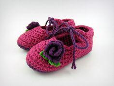 Pink Baby Ballet Shoes Crochet Baby Booties ♥ by JennOzkan, $30.00