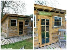 Pallet shed created using 90% repurposed items. I used pallets for flooring, framing, and outer covering of the shed. The metal roofing is from food servic