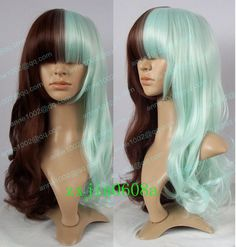 Cosplay Lolita Brown & Mintcream Mixed long Curly heat Wig