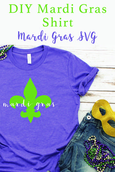 Laissez Les Bon Temps Rouler with this easy DIY Mardi Gras Shirt and SVG File from Everyday Party Magazine #LaissezLesBonTempsRouler #MardiGras #FatTuesday #SVG