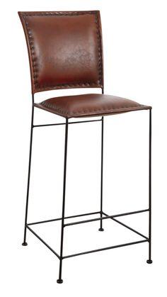 Voici un tabouret de bar en cuir et métal qui ne passera pas inaperçu ! en plus d'un style industriel, il amènera une touche rétro à votre salon.