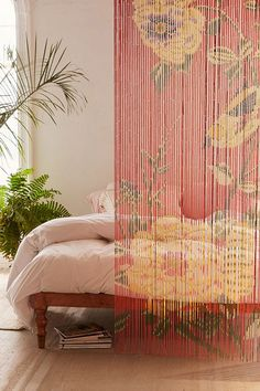 Check out Floral Bamboo Beaded Curtain from Urban Outfitters Bamboo Beaded Curtains, Beaded Door Curtains, Curtain Alternatives, Headboard Alternative, Bed With Posts, Hotel Paris, Custom Drapes, Hippie Home Decor, Window Coverings