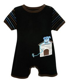 Look what I found on #zulily! Black & Brown Puppy House Romper - Infant by Stephan Baby #zulilyfinds