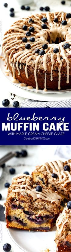 Blueberry Coffee Cake I've died and gone to heaven! This EASY Blueberry Muffin Cake is like a giant blueberry muffin and the Maple Cream Cheese Glaze is amazing! Everyone always asks me to make this for brunch! Blueberry Muffin Cake, Easy Blueberry Muffins, Blueberry Recipes, Blue Berry Muffins, Baking Recipes, Cake Recipes, Dessert Recipes, Breakfast Recipes, Bunt Cakes