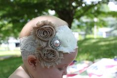 Love. Baby headband, Vintage Inspired Hand Sewn Lace and Triple Chabby Rosette Headband, Pearl Rhinestone, baby girl headband, lace headband, infant headband, newborn, photo prop