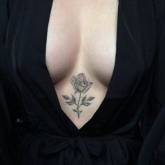 Rose Tattoo Between Breasts By Ali Bastardos Two Guns Possible