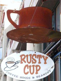 Rusty Cup Coffee House & Beanery - Astoria, Oregon Yummy Coffee, Best Barista/Owner, and all time favorite: Brown Sugar Cinnamon Chai Tea YUMMMY! Coffee Talk, I Love Coffee, Coffee Break, My Coffee, Coffee Cups, Pub Signs, Shop Signs, Barista, Astoria Oregon