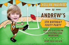 Personalise these AFL birthday invitations with your favourite teams colours. We'll change you child into a star player. Print these invites yourself.