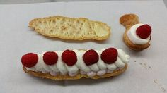 Eclair with raspberry & whipped cream