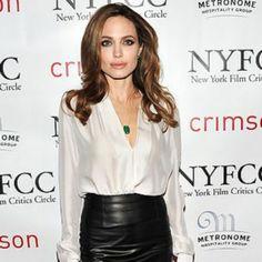 Angelina jolie - black leather skirt and white shirt