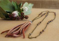"Bohemian Leather Tassel ""Floral"" Necklace 30"", Boho Gypsy Hippie Long Sweater Leather Tassel Flower Necklace,Bohemian Natural Jewelry ByLEXY by ByLEXY on Etsy"