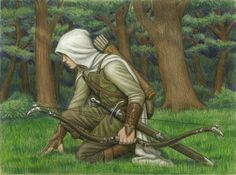 """Beleg Cuthalion byBrokenMachine86. Beautiful illustration in colored pencil.  Original comment by """"sagenundlegenden,"""" - """"I wrote for Beleg for a Tolkien RPG, and he'll always have a softspot in my heart. Too fierce to stay in his protected forest when others were battling evil, he followed no captain but himself and could not be restrained in battle. In the end it was not his enemies who killed him, but a friend he would not abandon."""""""