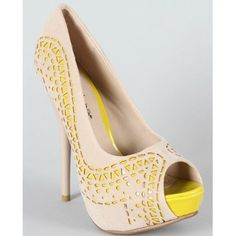 Shoehorne Lorane-23 - Womens Nude Beige & Yellow lime 2tone Cutout Stiletto High Heeled Platform Court Shoes Peep-Toe Heels - Avail in Ladies Size 2-8 UK: Amazon.co.uk: Shoes & Accessories