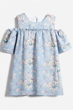 LUCLUC Blue Floral Print Short Sleeve Dress