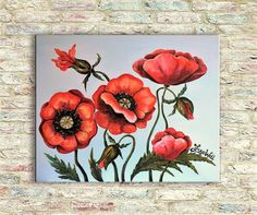 Red poppies  Original Oil Painting on canvas on stretcher