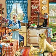 In the 300 piece jigsaw puzzle, Cozy Kitchen by White Mountain, a classic cottage kitchen scene is depicted. This puzzle is a great afternoon activity—best accompanied by Grandma's cookies! Illustration Art, Illustrations, Arte Sketchbook, Cozy Kitchen, Kitchen Decor, Cross Paintings, Country Art, Norman Rockwell, Vintage Pictures