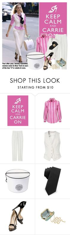 """Carrie On ""Sex and the City"""" by youmakemehappy7 ❤ liked on Polyvore featuring Thomas Pink, McQ by Alexander McQueen, AllSaints, Elite, Brian Atwood and Moschino"