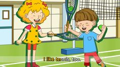 I like baseball. - I like tennis. - English song for Kids - Let's sing (...