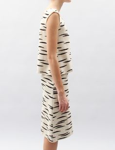black and white striped skirt and matching sleeveless top (Rachel Comey)