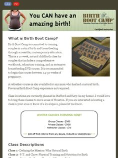 Birth Boot Camp Come