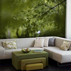 green and gold forest bedroom - Google Search