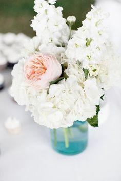 Hydrangea Flower Arrangements, Wedding Flowers Photos by Preferred Planning. Small arrangement for guest bath