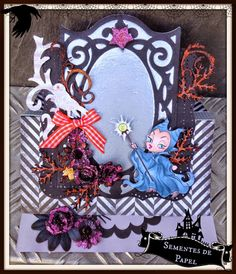 Sementes de papel: Maleficient card, with Alicia Bel digi stamp. Easel Halloween card.
