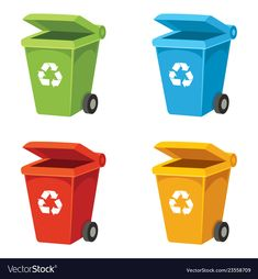 Of recycling bin Royalty Free Vector Image - VectorStock Kids Vector, Free Vector Images, Vector Free, Earth Day Coloring Pages, Kids Lying, Kids Going To School, Japanese Kids, Recycle Symbol, Balance Art