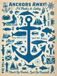 CC Anchor Pattern Print - The Coastal Collection is breezy, casual, whimsical and fun. Inspired by vintage coastal and nautical travel prints, we set out to create a collection of designs with a breezy, casual feel. This anchor pattern print is a ship-shape accent for any nautical decor scheme.