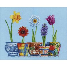 """Flower Pots Counted Cross Stitch Kit-13.75""""X11"""" 14 Count"""
