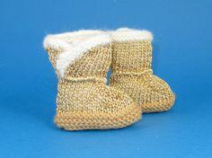 Instant Digital File pdf download knitting pattern - Baby Golden Booties  pdf download knitting pattern on Etsy, $3.95