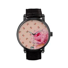 Vintage pink floral and dots watches