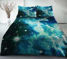 Galaxy Bedding Set: galaxy duvet cover, galaxy bed sheets, galaxy pillow covers  by LFsee, found on Etsy.com  I ordered these and they arrived at my house in the USA very quickly!   Quality is great, fabric was satin finish.  Pillow cases have invisible zippers for a seamless fit.  Highly recommended!