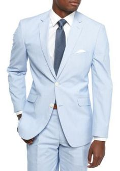 Madison Blue Modern-Fit Blue Pinfeather Stretch Suit Coat