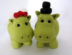 Hippo lovewedding cake topper  green by yaelsplace on Etsy, $65.00