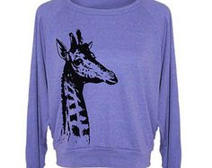 Womens Sweatshirt GIRAFFE Tri-Blend Pullover - American Apparel - S M L (8 Color Options) LOVEE