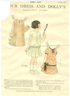 Child Life Magazine Paper Doll Your Dress Dolly's Nov 1927 Polly Chiquet | eBay