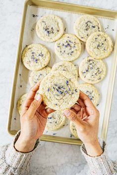 These lavender Earl Grey cookies are chewy, buttery sugar cookies infused with the floral flavors of both Earl Grey tea and dried lavender petals. The recipe is from my friend Amy Ho& new book, Blooms and Baking! Buttery Sugar Cookies, Sugar Cookies Recipe, Baking Recipes, Cookie Recipes, Dessert Recipes, Kitchen Recipes, Just Desserts, Delicious Desserts, Yummy Food