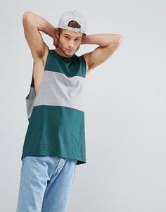 ASOS Relaxed Tank With Dropped Armhole and Contrast Panel - Multi