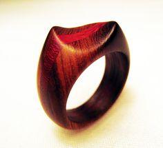 Ironwood and Padauk Wood Ring Twisted Shape by Endeavours on Etsy