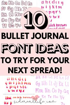 10 Bullet Journal Font Ideas to use in your next layout! Find out how to create easy alphabet inspiration for your next bullet journal header, with tips and tricks for beginners. Bullet Journal Lettering Ideas, Bullet Journal Headers, Bullet Journal Font, Journal Fonts, Bullet Journal Hacks, Bullet Journal How To Start A, Bullet Journal Ideas Pages, Bullet Journal Spread, Bullet Journal Inspiration